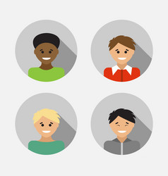Flat design avatar set of multiracial people vector