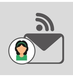Girl character wifi message chat vector