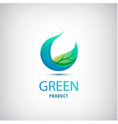 green leaf nature organic icon circle vector image