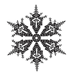 Hand-drawn realistic silhouette snowflake black on vector