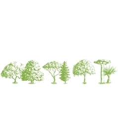 Hand drawn tree pattern vector