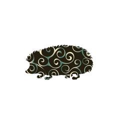 hedgehog wildlife color silhouette animal vector image vector image
