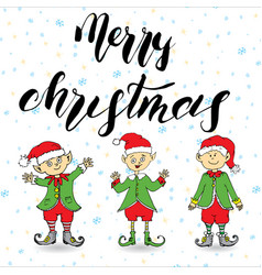 Merry chistmas lettering hand drawn with elfs vector