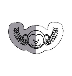 Monochrome contour sticker with monkey head and vector