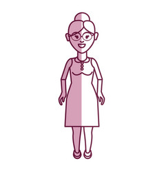 old woman with glasses and dress cloth vector image vector image