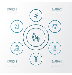 Person outline icons set collection of business vector