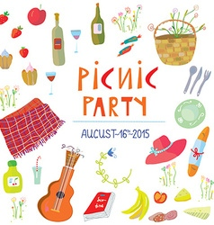Picnic party banner - vector image