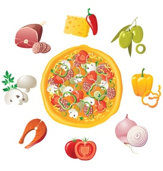 pizza and ingredients vector image vector image