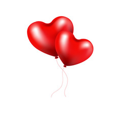 red balloons heart vector image