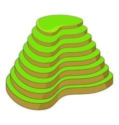 Rice terraces icon cartoon style vector