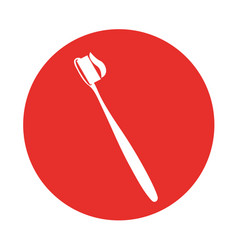 Round icon toothbrush cartoon vector