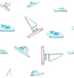Sea yacht pattern cartoon style vector