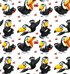 Seamless toucan and red cherries vector image vector image