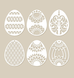 set stencil easter eggs vector image