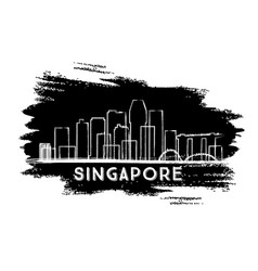 singapore skyline silhouette hand drawn sketch vector image vector image
