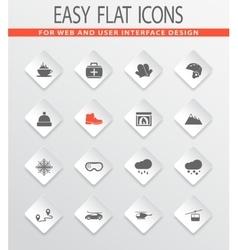 Skiing icons set vector image
