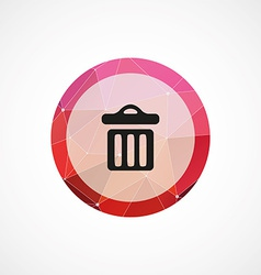 Trash bin circle pink triangle background icon vector