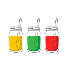tree smoothie jars vector image vector image