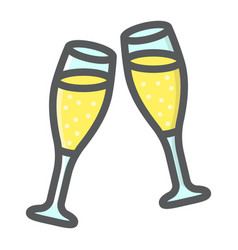 two glasses of champagne filled outline icon vector image vector image