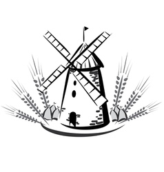 wind mill emblem vector image vector image