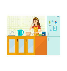 woman housewife is engaged in preparing a meal vector image vector image