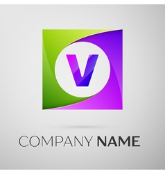 Letter v logo symbol in the colorful square on vector