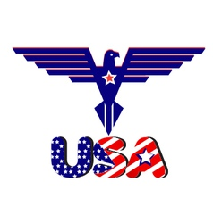 Eagle and USA word flag vector image