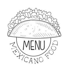 Restaurant mexican food menu promo sign in sketch vector