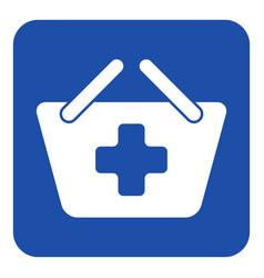 Blue white information sign shopping basket plus vector