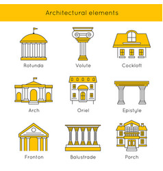 Architectural elements icon set vector