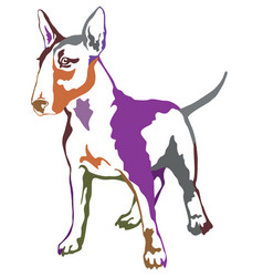 Colorful decorative standing portrait of dog bull vector