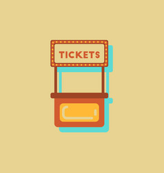 Carnival ticket booth in sticker style vector