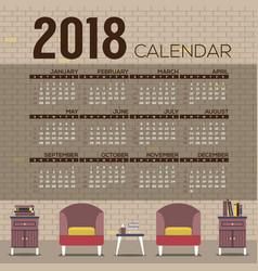 2018 cozy living room printable calendar vector