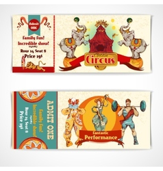 Circus vintage tickets set vector