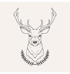 hand drawn of deer and laurel vector image