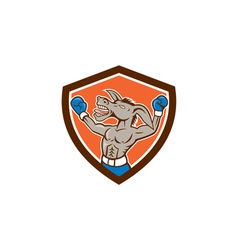 Donkey boxing celebrate shield cartoon vector
