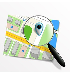 Pointer on the map and magnifying glass vector