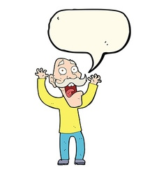 Cartoon old man getting a fright with speech vector