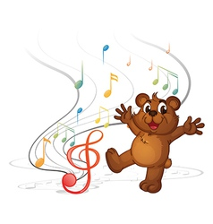A dancing bear and the musical notes vector image