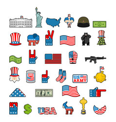 America icon set national sign of usa american vector