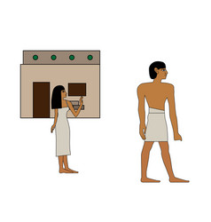 Ancient egypt man goes to work vector
