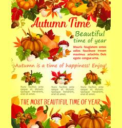 Autumn nature fall season poster template design vector