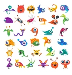 big set of cartoon cute monsters vector image vector image