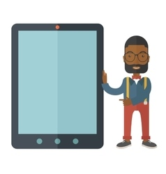 Black businessman holding a big screen tablet vector