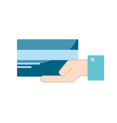 businessman with electronic credit card in the vector image