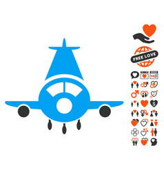Cargo plane icon with love bonus vector