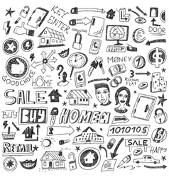 Choosing home sale - doodles vector