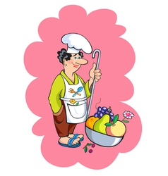 Cook with ladle with fruits vector image vector image