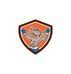 Donkey boxing celebrate shield cartoon vector
