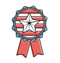 Emblem with star inside and ribbon design vector